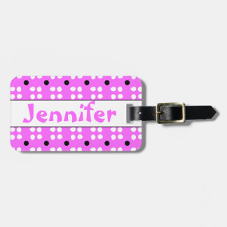 Personalised dotting pattern luggage tag
