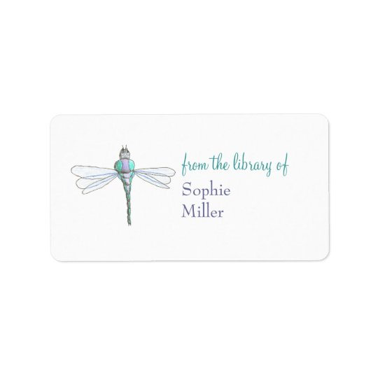 Personalised dragonfly bookplate sticker address label