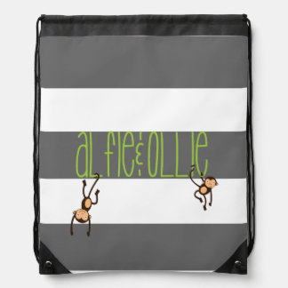 personalised drawstring bag monkey kids design