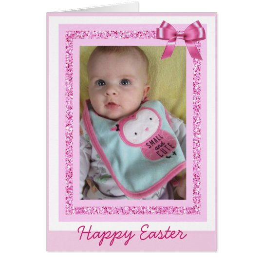 Personalised Easter Card, Add Baby Photo Cute Pink
