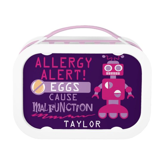 Personalised Egg Allergy Alert Magenta Robot Lunch Box
