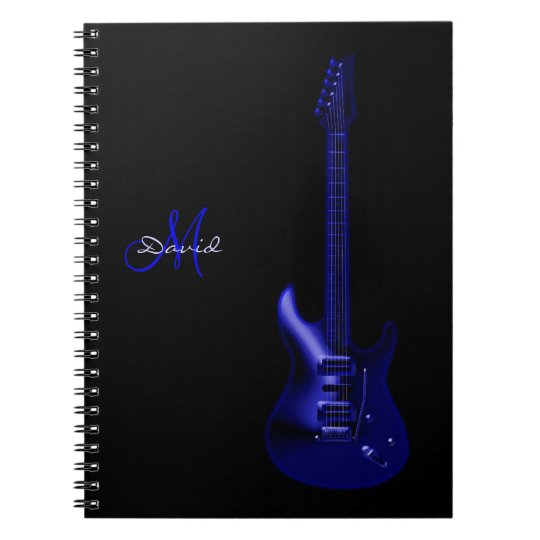 Personalised Electric Blue Guitar Music Notebook