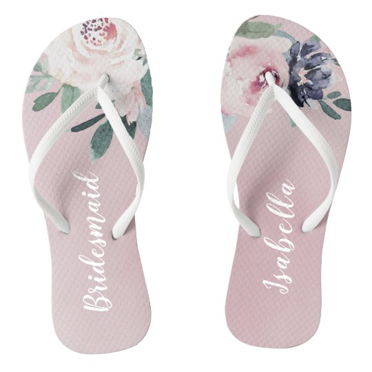 1f0fe7706 Personalised elegant blush floral bridesmaid flip flops