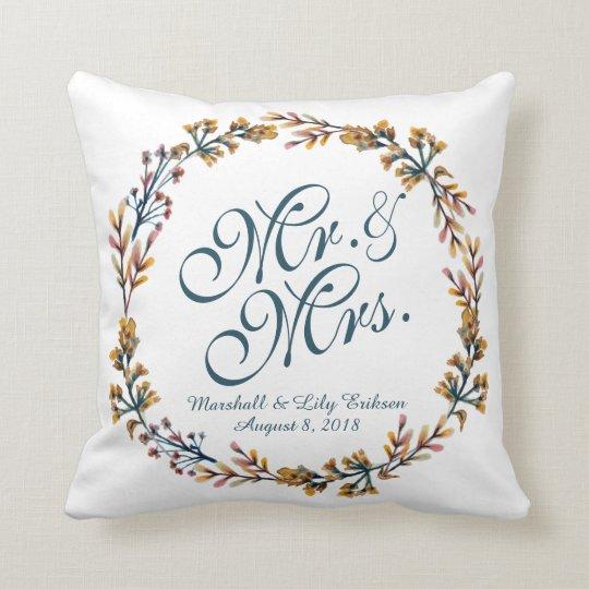 Personalised Elegant Floral Wedding Pillow