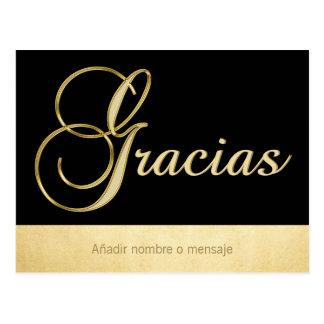 Personalised Elegant Gold Black Occasion Gracias Postcard