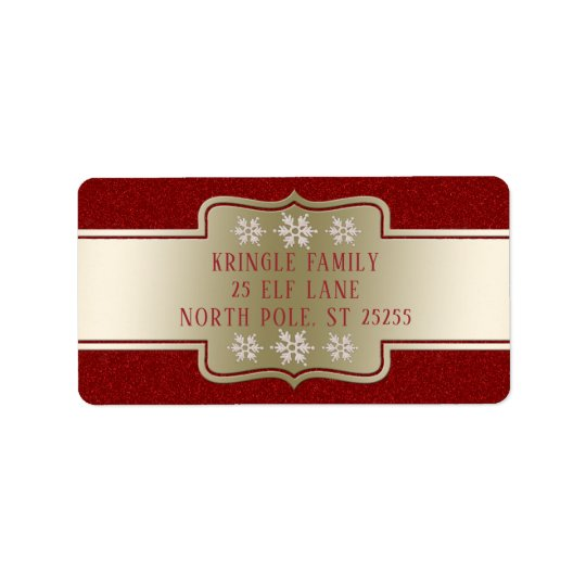 Personalised Elegant Gold Red Christmas Snowflakes Label