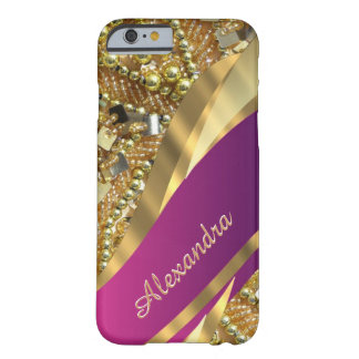 Personalised elegant pink and gold bling barely there iPhone 6 case