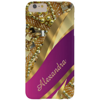 Personalised elegant pink and gold bling barely there iPhone 6 plus case