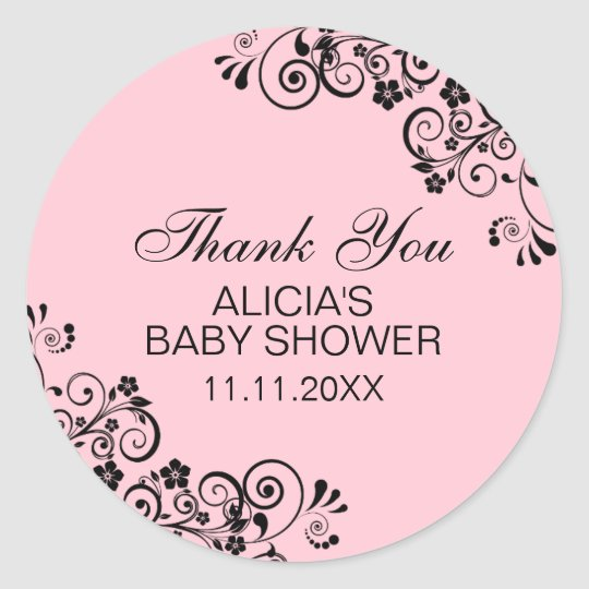 Personalised Elegant PINK Baby Shower Thank You Classic