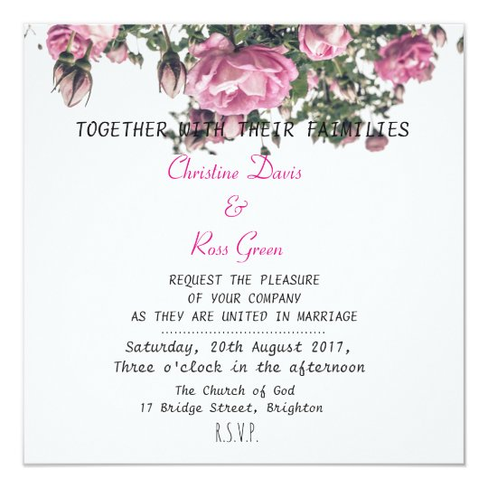 Personalised, elegant, rose wedding invitation
