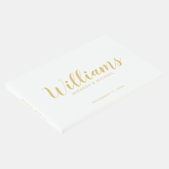 Personalised Elegant White and Gold Wedding Guest Book