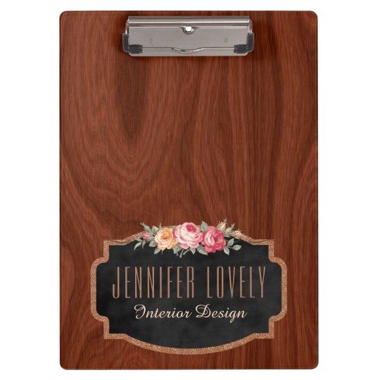 Personalised Elegant Wood Look Rose Gold Glitter Clipboard
