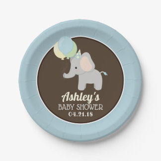 Personalised Elephant Baby Shower Paper Plates