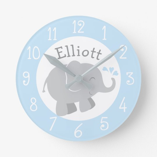 Personalised Elephant Clock | Blue and Grey