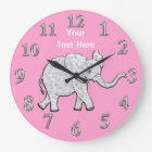 Personalised Elephant Clock Nursery Decor for Girl