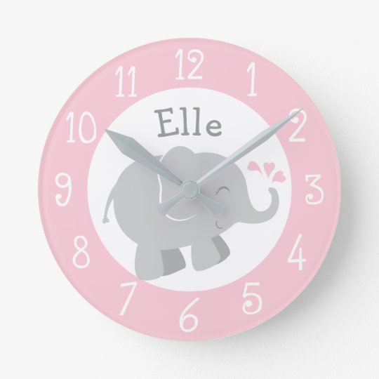 Personalised Elephant Clock | Pink and Grey