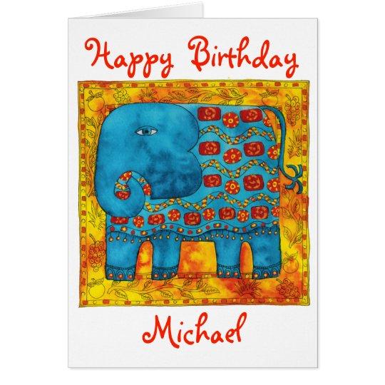 Personalised Elephant Happy Birthday Card