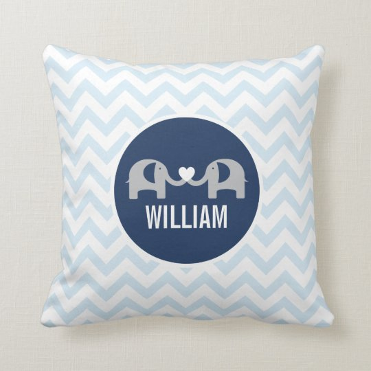 Personalised Elephant Pillow Blue
