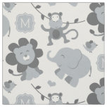 Personalised Fabric | Grey Jungle Animals