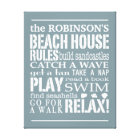 Personalised Family Beach House Rules Blue | White Canvas Print