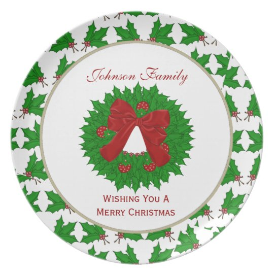 Personalised Family: Christmas Wreath Plate