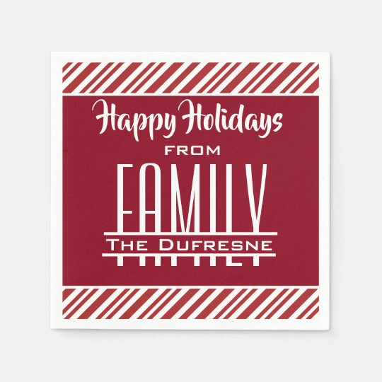 """Personalised """"Family"""" Holiday Paper Napkins"""