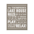 Personalised Family Lake House Rules Brown | White Canvas Print
