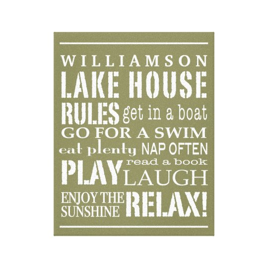 Personalised Family Lake House Rules Green | White Canvas Print