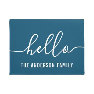 Personalised Family Name Hello Doormat
