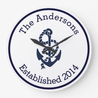 Personalised Family Name Nautical Navy Anchor Clock