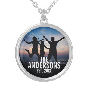 Personalised Family Photo with Family Name Silver Plated Necklace