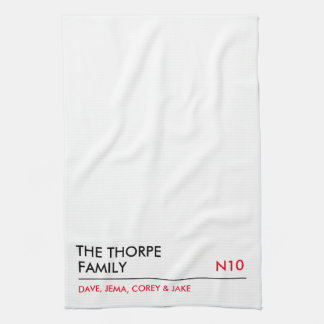 Personalised family tea towel