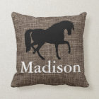 Personalised Faux Burlap Horse Silhouette Cushion