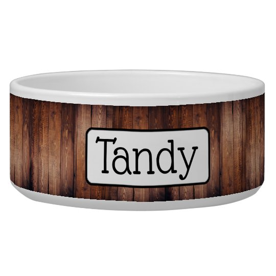 Personalised Faux Distressed Wood Dog Bowl