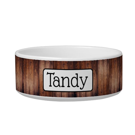 Personalised Faux Distressed Wood Dog or Cat Bowl