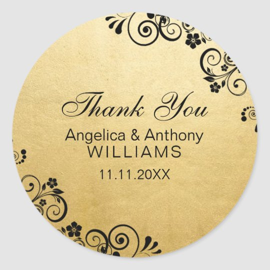 Personalised Faux Gold Foil Wedding Thank You Classic