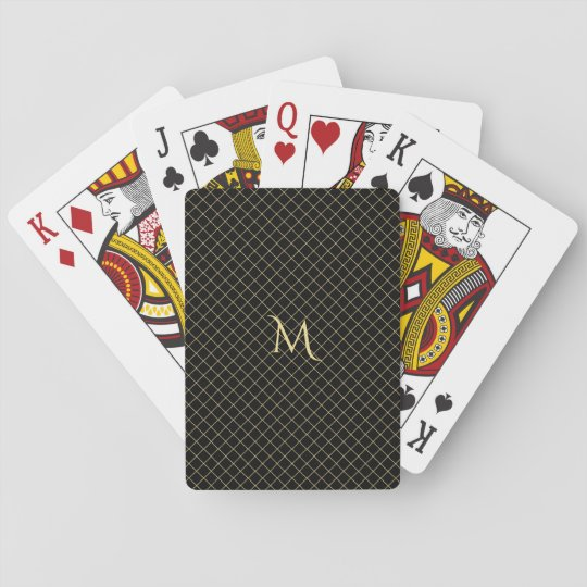 Personalised Faux Gold Monogram Check Stripe Poker Playing