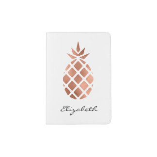 Personalised faux rose gold foil pineapple passport holder