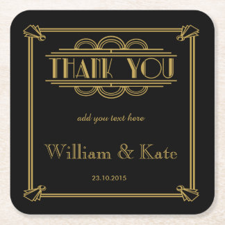 personalised Favor wedding coaster Thank you Square Paper Coaster