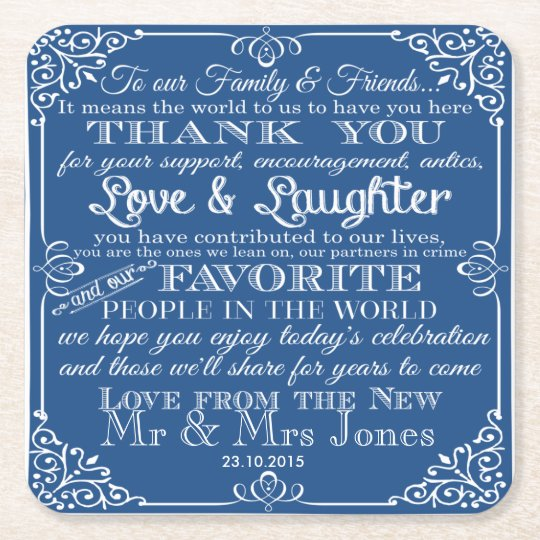 personalised Favour wedding coaster Thank you