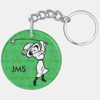 Personalised female golf cartoon golfer Double-Sided round acrylic key ring