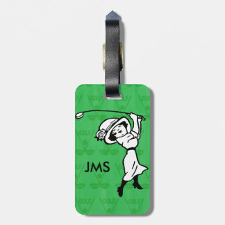 Personalised female golf cartoon golfer tags for bags