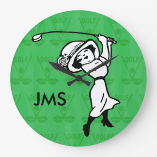 Personalised female golf cartoon golfer wall clocks
