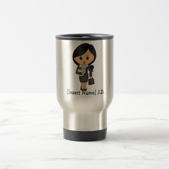 Personalised Female Lawyer - Black hair Travel Mug