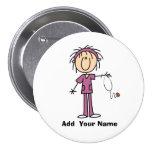 Personalised Female Stick Figure Nurse  Button
