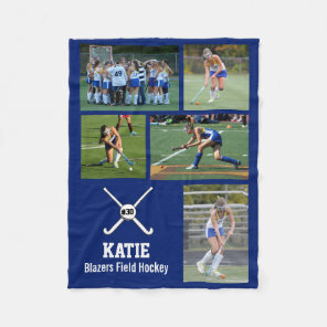 Personalised Field Hockey Photo Collage Name Team Fleece Blanket