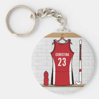 Personalised Field Hockey uniform red Basic Round Button Key Ring