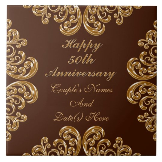 Personalised Fiftieth Anniversary Gifts for Family Large Square Tile