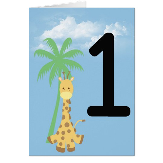 Personalised First Birthday Giraffe Birthday Card