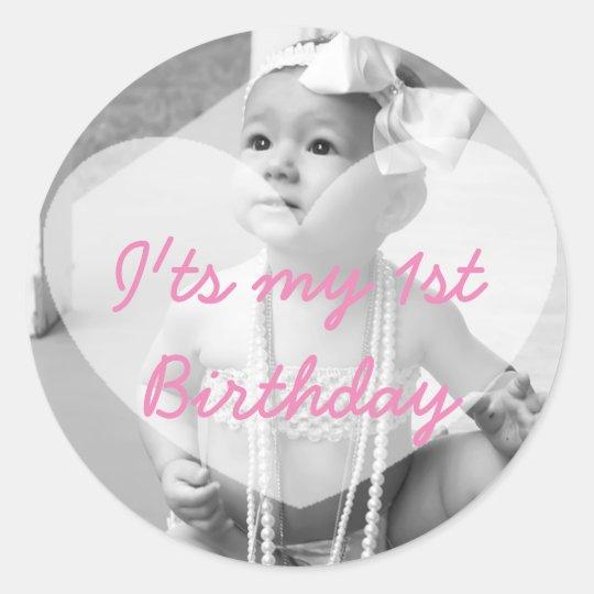 Personalised First Birthday Photo Sticker
